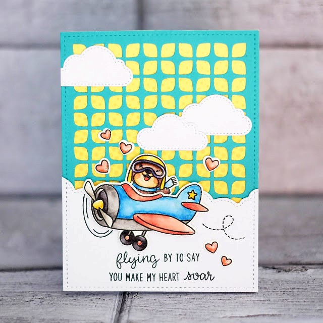Sunny Studio Stamps: Frilly Frames Retro Petals Dies, Plane Awesome & Fluffy Clouds Dies Love Themed Airplane Card by Lexa Levana
