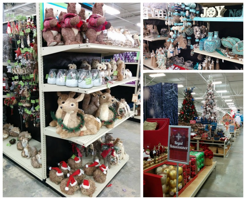 heres a small glimpse of the store each theme is displayed together in the same aisle for the easiest decorating decisions ever just look at that - At Home Store Christmas Decorations