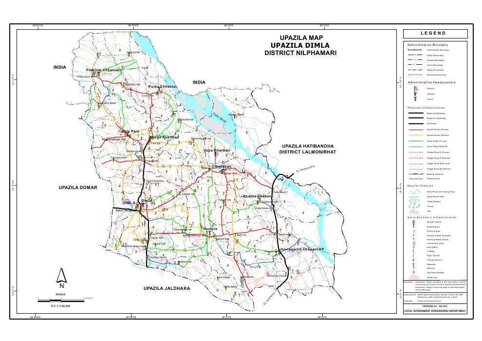 Dimla Upazila Map Nilphamari District Bangladesh