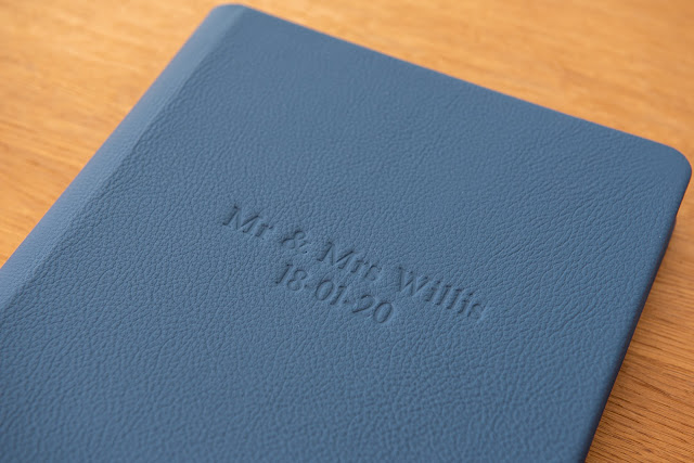 navy blue leather cover wedding album by Graphistudio