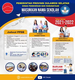 Desain Banner Baliho PPDB 2021 Format CDR