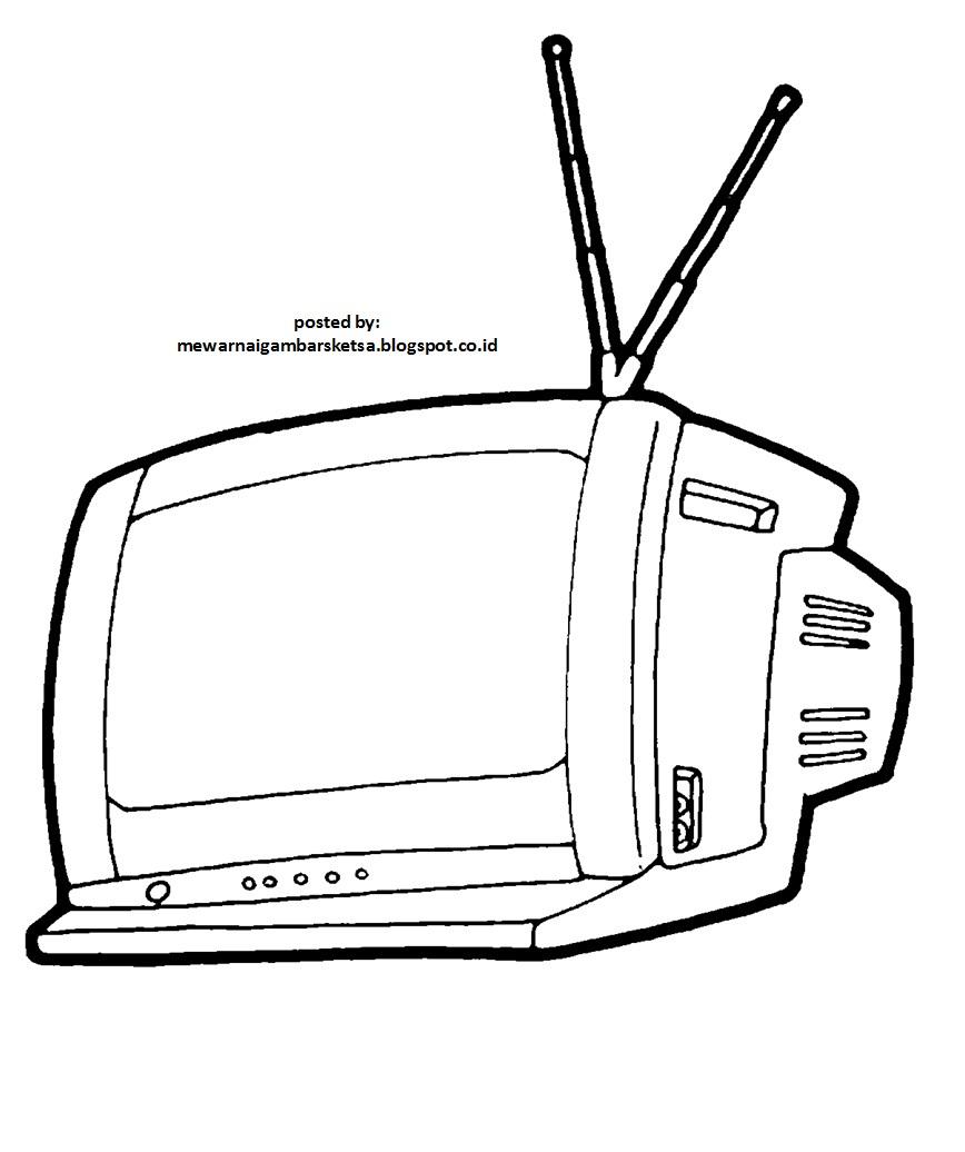 Mewarnai Gambar Mewarnai Gambar Sketsa Tv 1