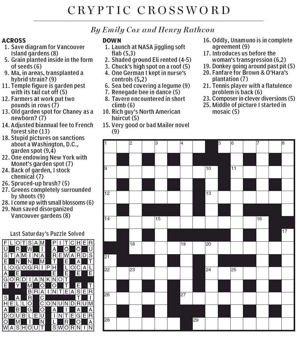 National Post Cryptic Crossword Forum Saturday June 2 2012 Spring Gardening