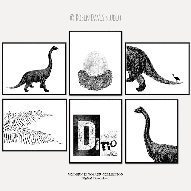 Modern Dinosaur Wall Decor by Robin Davis Studio