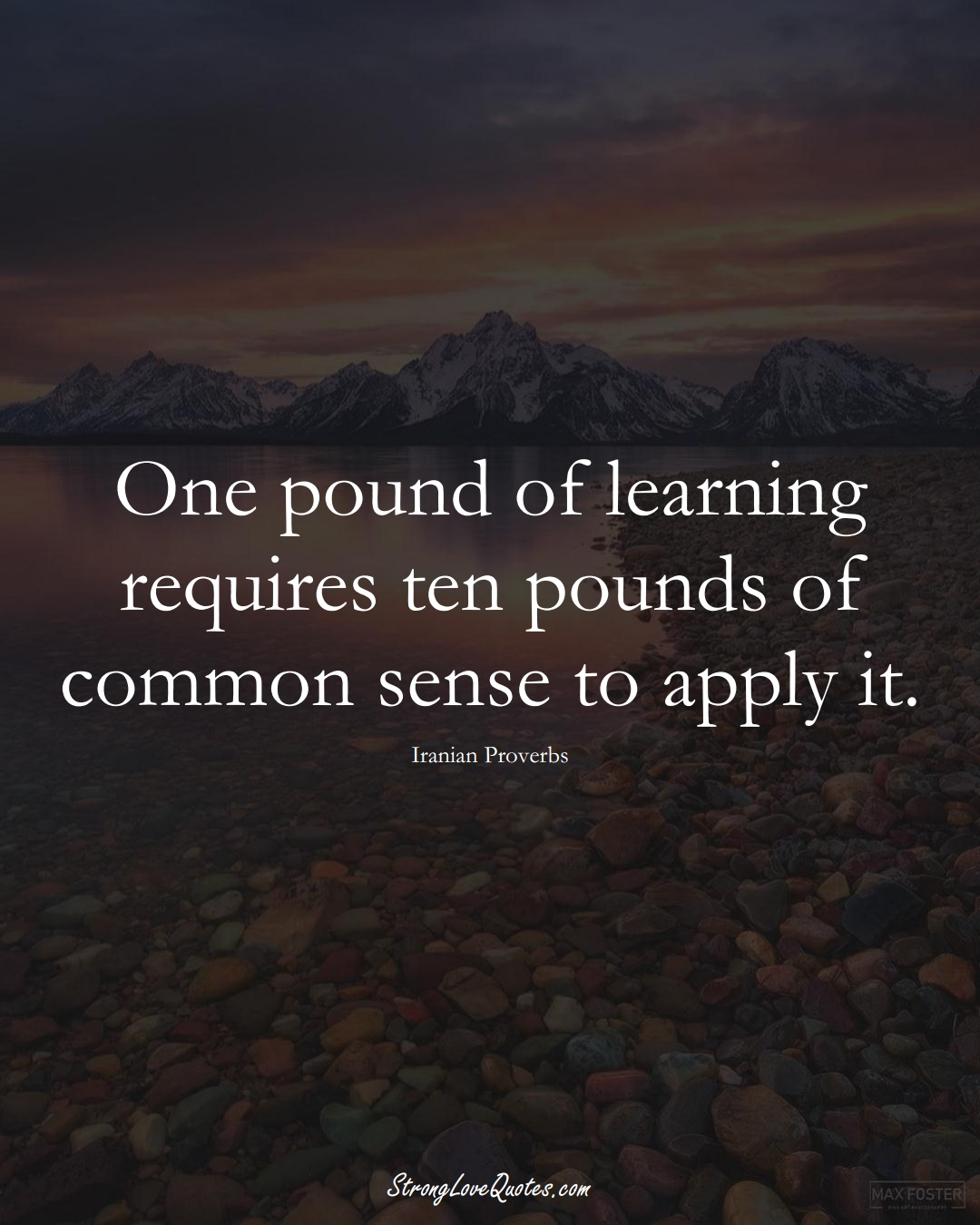 One pound of learning requires ten pounds of common sense to apply it. (Iranian Sayings);  #MiddleEasternSayings