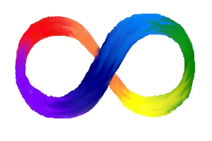 A rainbow coloured infinity symbol