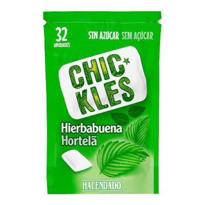 Chicles sin azúcar en grageas sabor hierbabuena Chic-Kles Hacendado