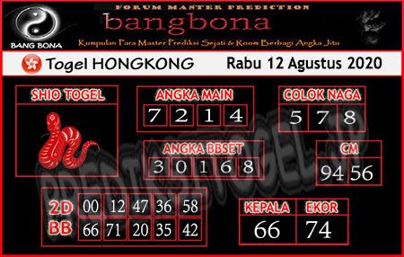 Prediksi Bangbona HK Rabu 12 Agustus 2020