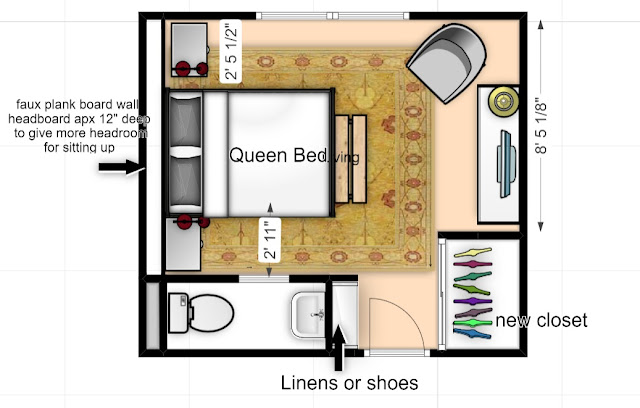 mountain cottage, attic bedroom, false wall, full wall headboard, mountain cottage reno
