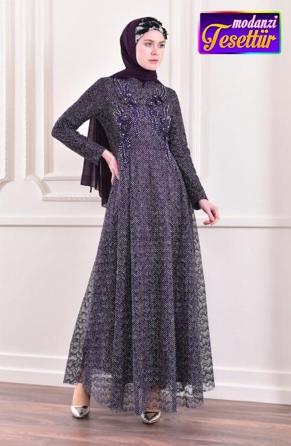230036c595f6d Simli Abiye Elbise 8996-01 Mor - sefamerve 2019 tesettur abiye modelleri