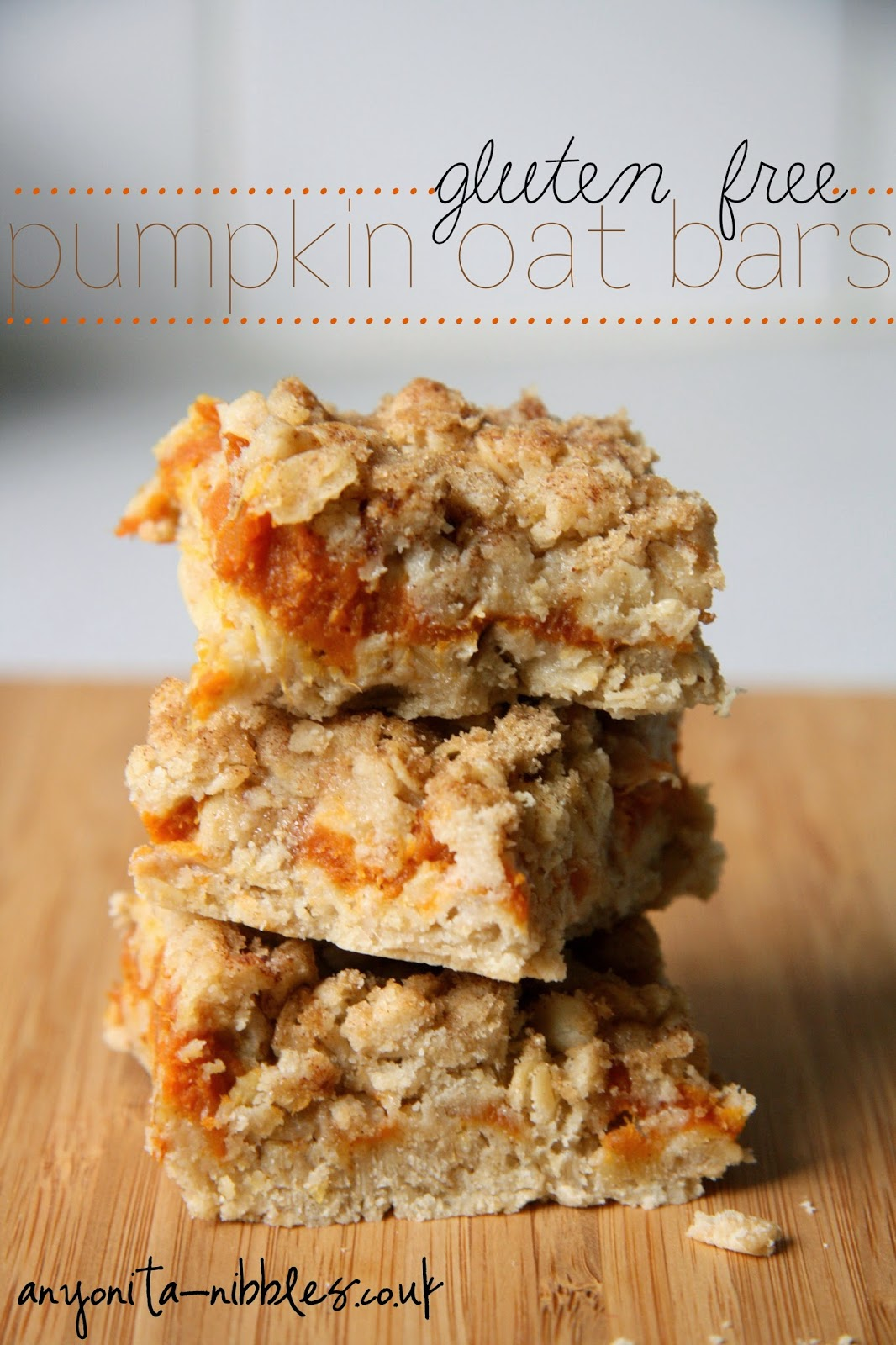 Gluten Free Pumpkin Oat Bars Recipe from Anyonita-nibbles.co.uk