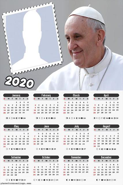 Papa Francisco: Calendario 2020 Para Imprimir Gratis.