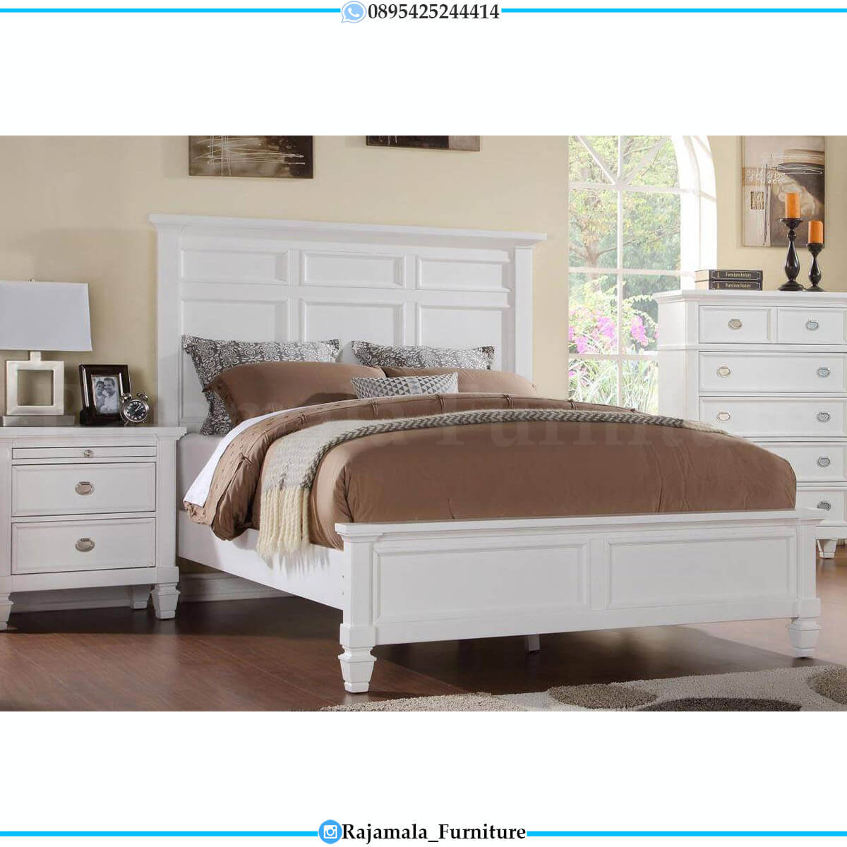 Harga Tempat Tidur Minimalis Putih Duco Luxury Set Jepara RM-0641