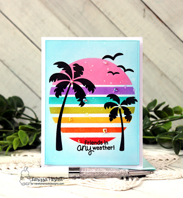 Friends in Any Weather Card by Larissa Heskett | Retro Sun & Palms Stencil Set by Newton's Nook Designs #newtonsnook #handmade