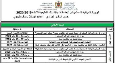 تواريخ المراقبة المستمرة و الامتحانات بالأسلاك التعليمية الثلاثة 2020-2019