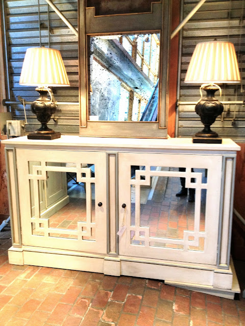 white mirrored buffet cabinet furniture fretwork carved home furnishings case goods house decor dining room