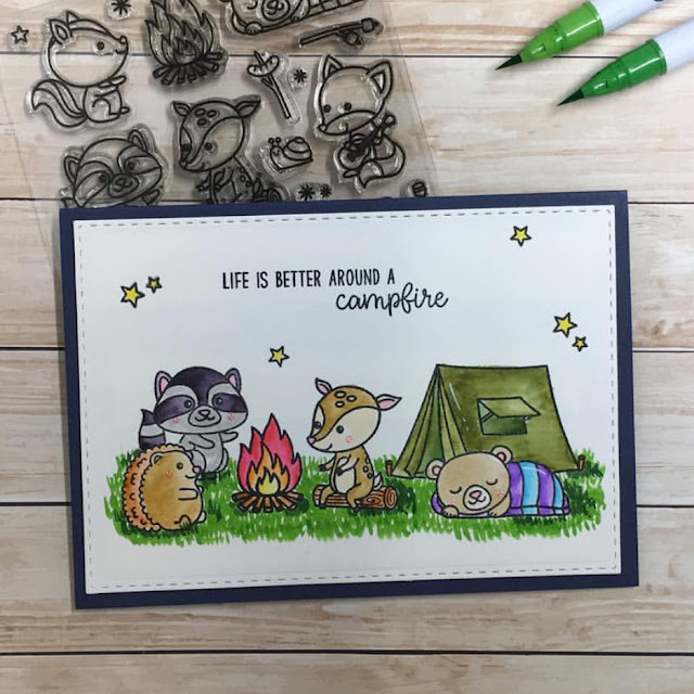 Sunny Studio Stamps: Critter Campout Customer Card by Lisa