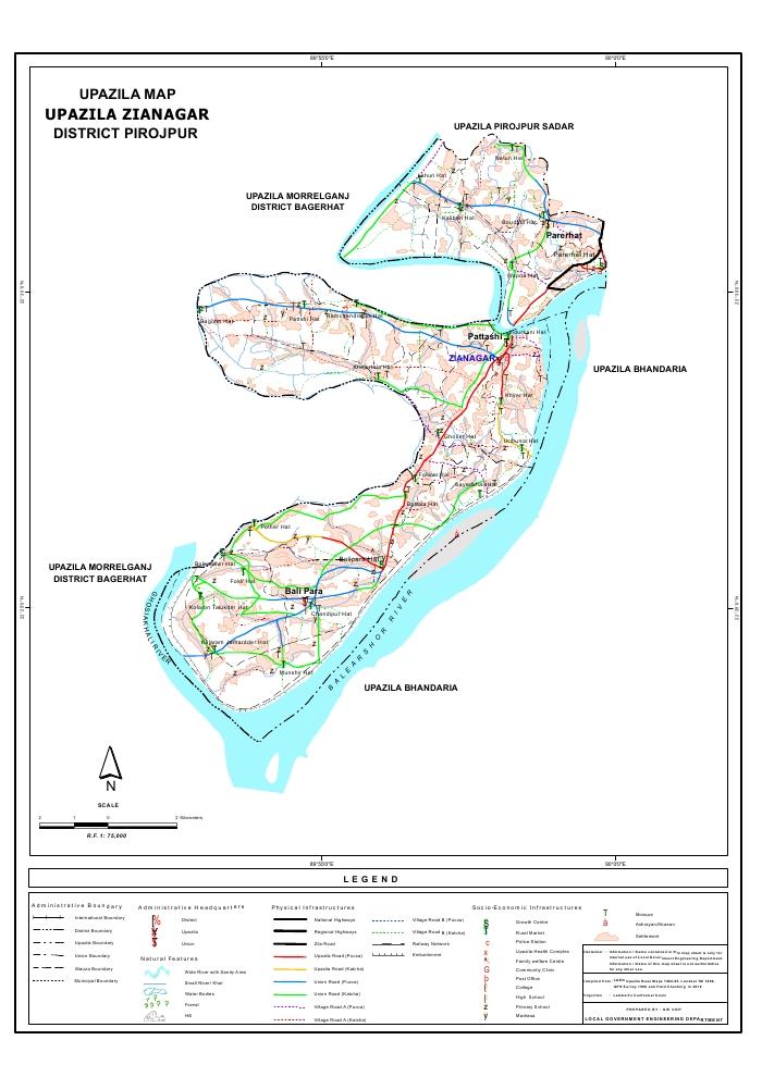 Zianagar Upazila Map Pirojpur District Bangladesh