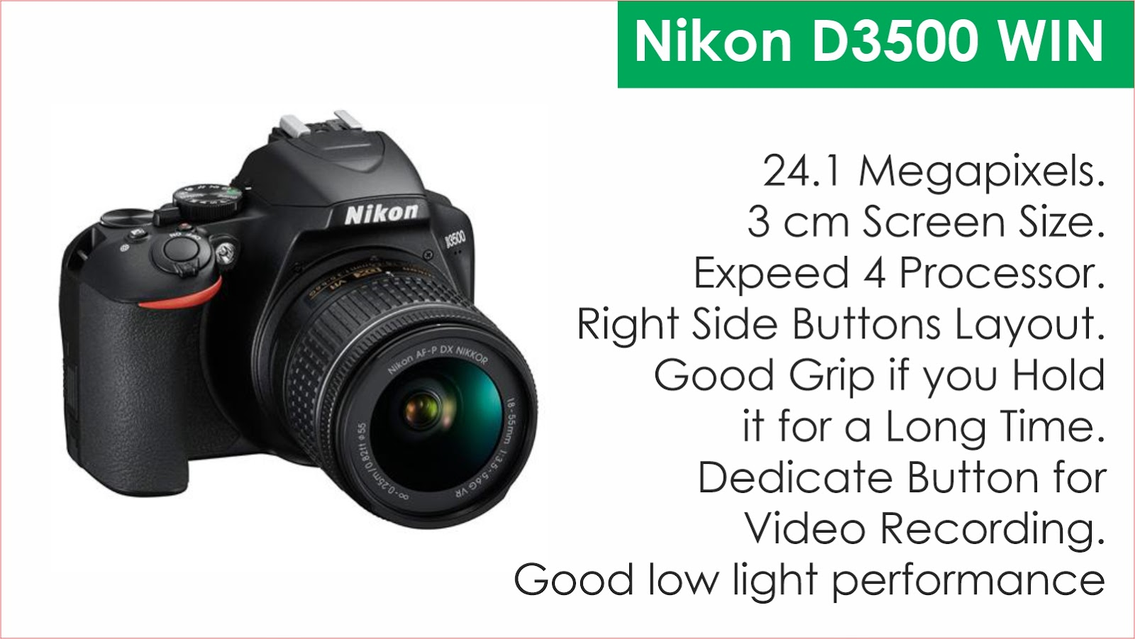 Nikon D3500 DSLR Camera Specifications