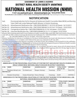 Tags - National Health Mission in District Anantnag Selection List, nhm selection list,nrhm,nrhm j&k salary,jknhm bridge course result 2020,
