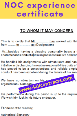 Application for noc and experience certificate
