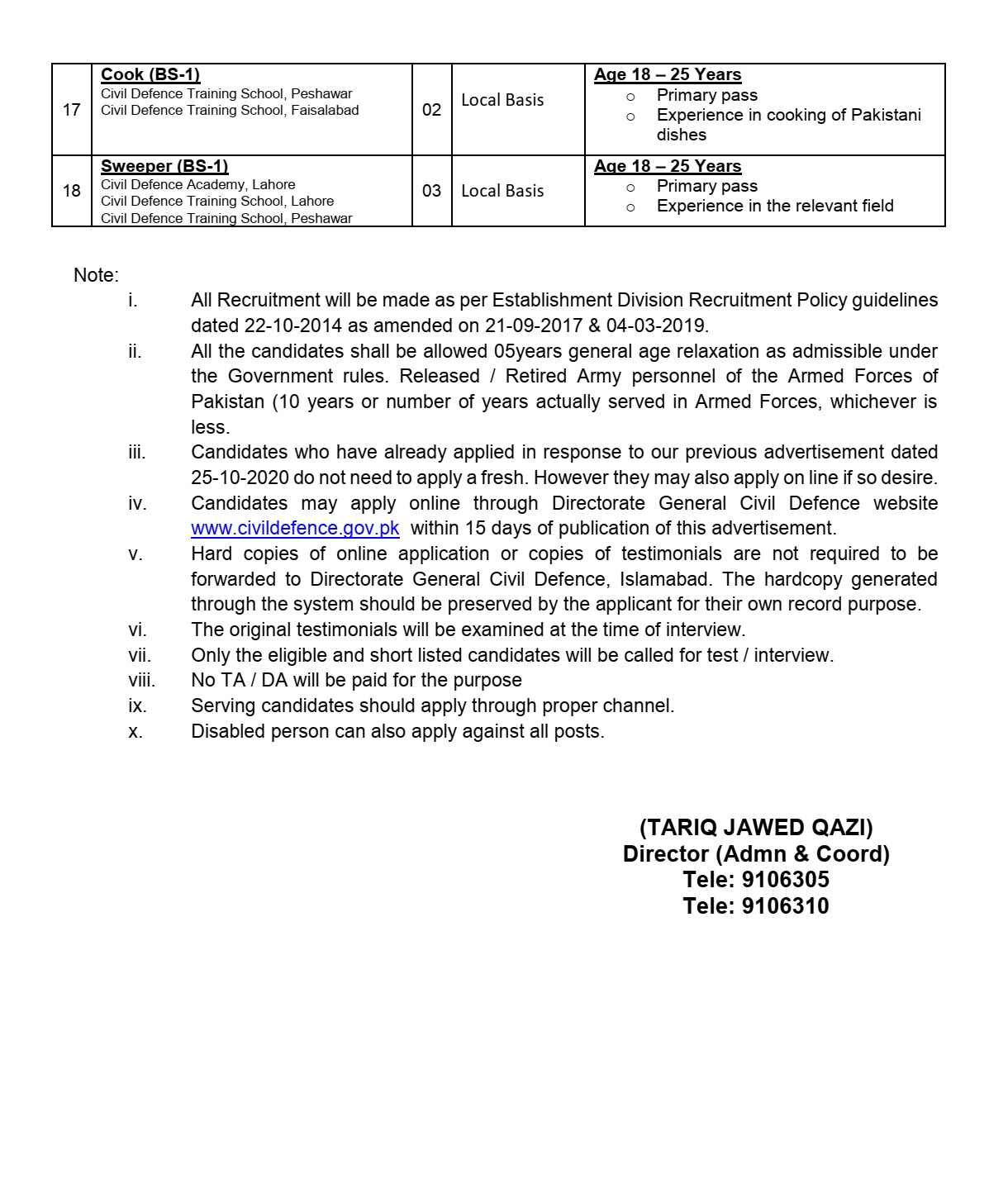 Ministry of Interior Government of Pakistan Directorate General Civil Defence Jobs 2021 For Assistant, Instructor, Steno Typist, Lower Division Clerk, LDC & more