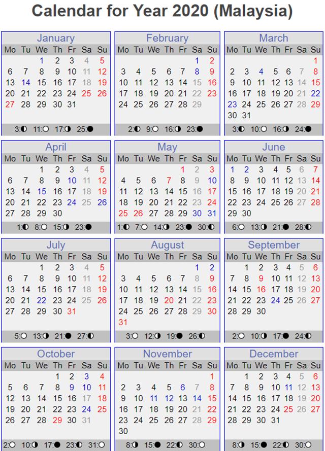 Rancang Percutian Dengan Kalendar 2020