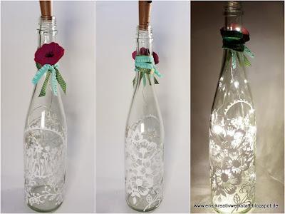 Sommerliche, blumige Leuchtflaschen für die Gartenparty Stampin' Up! www.eris-kreativwerkstatt.blogspot.de