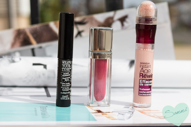 THE BALM What's Your Type? The Body Builder Mascara & MAYBELLINE Color Elixir Lip Color in Rose Redefined & MAYBELLINE Instant Age Rewind Eraser Dark Circle Treatment Concealer in Brightener