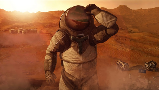 Mars 2030 VR image - base and astronaut