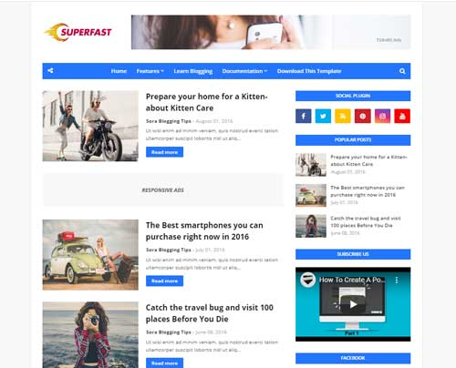 Fast Loading Blogger Template in Hindi 2020