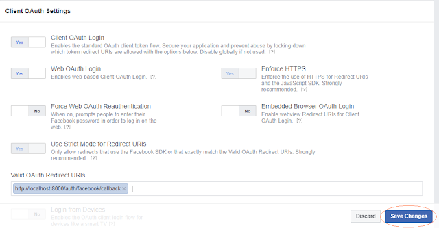OAuth2 Facebook Settings