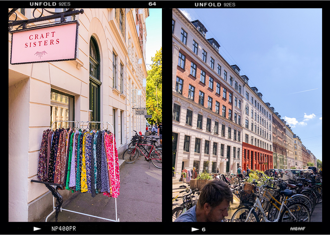 Jægersborggade in Nørrebro neighbourhood, Copenhagen. Shops with printed clothing hanging outside on the street, danish architecture street