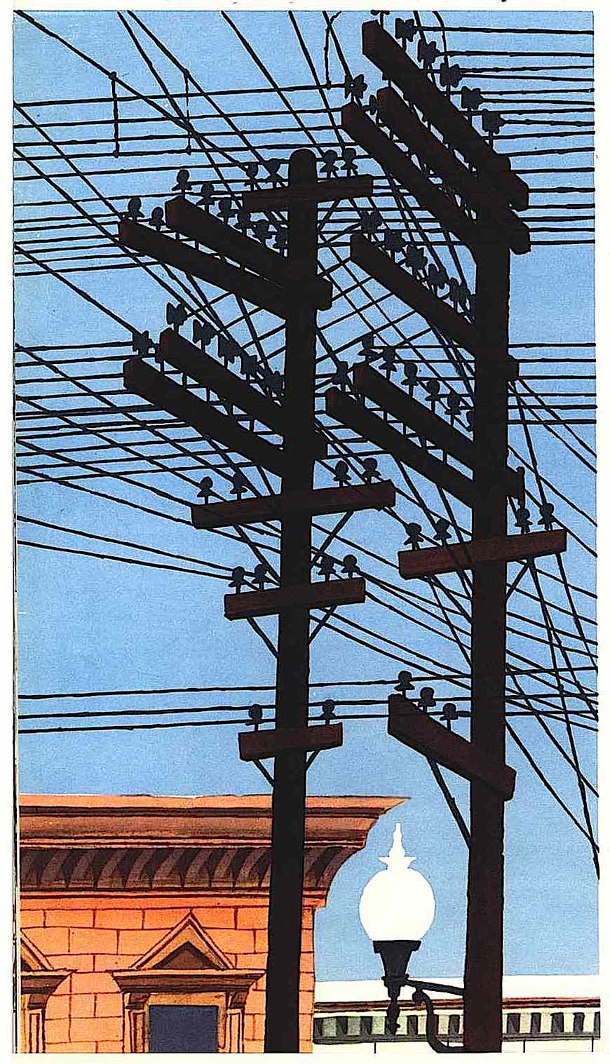 a Miroslav Sasek children's book illustration of telephone poles and wires in silhouette