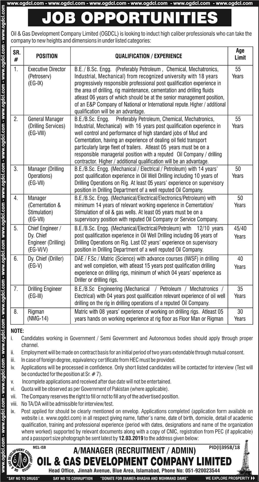 Advertisement for Oil & Gas Company Jobs