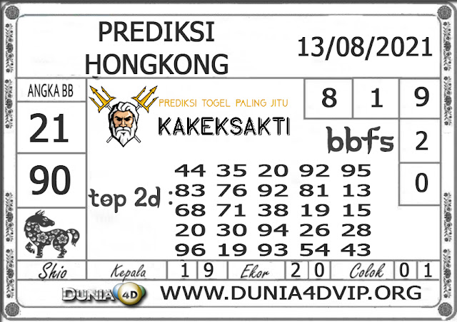 Prediksi Togel HONGKONG DUNIA4D 13 AGUSTUS 2021