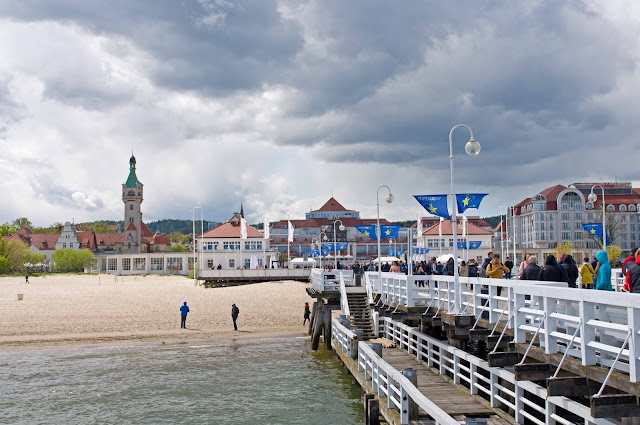 plaża w Sopocie widok z mola na panoramę miasta