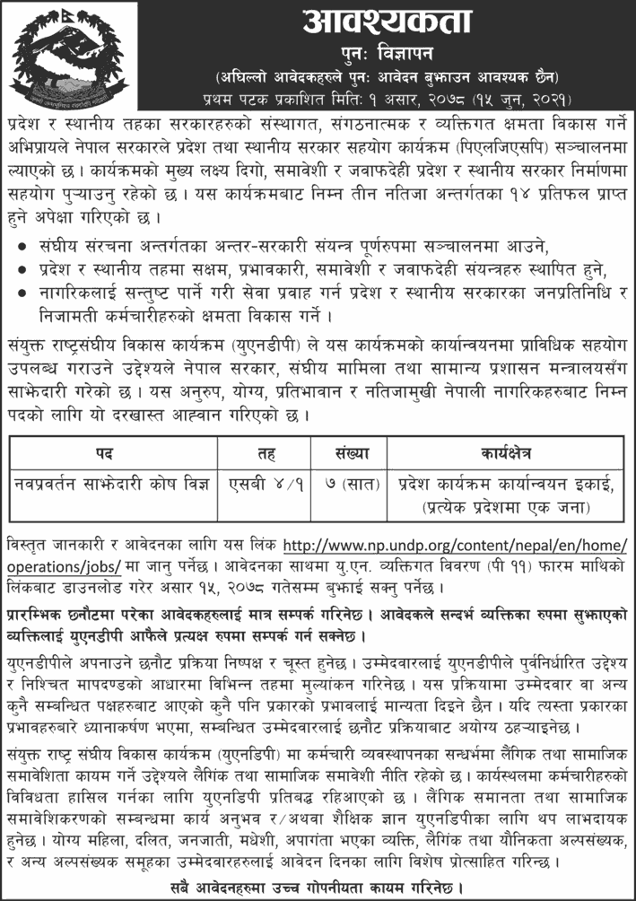 UNDP-Nepal-Job-Vacancy-for-Innovative-Partnership-Fund-Expert-in-all-Provinces