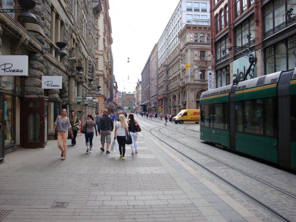 one of the main shopping street in Helsinki