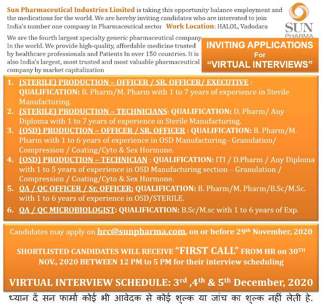 Sun Pharma | Virtual Interview for Production-OSD/QC/QA on 3,4&5th Dec 2020
