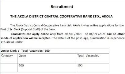 Akola District Central Cooperative Bank Ltd Recruitment 2021