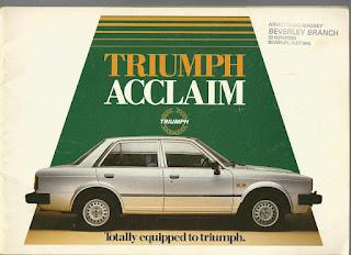 Armstrong Massey dealer address stamp on Triumph Acclaim brochure