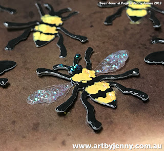 mixed media artwork by Jenny James featuring sunflowers, bees and their hive