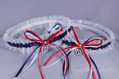 Washington Nationals Lace Wedding Garter Set by Sugarplum Garters