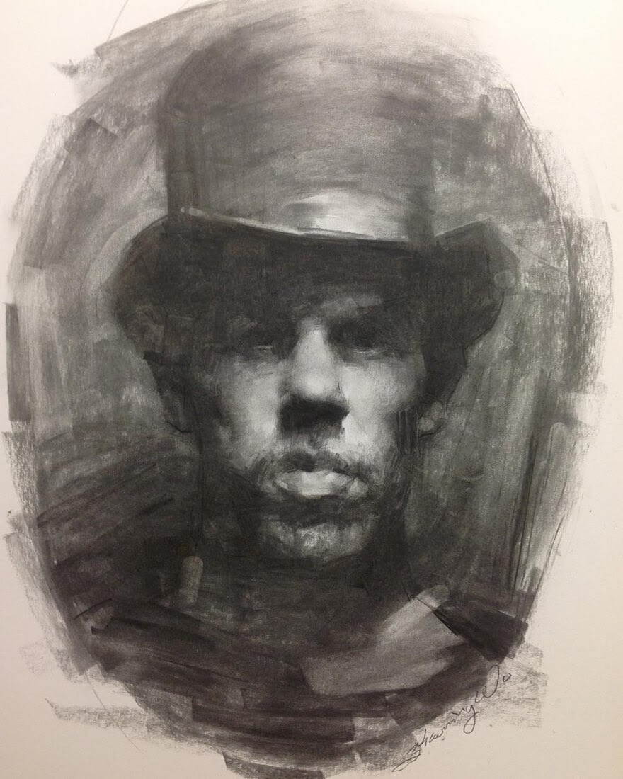 13-Calvin-in-Top-Hat-Zhaoming-Wu-Black-and-White-Charcoal-Portraits-www-designstack-co