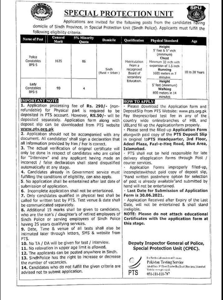 Sindh Police Special Protection Unit SPU Jobs 2021 | 1815 Posts