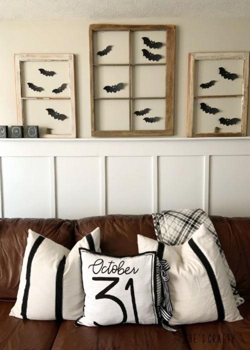 Halloween Home Tour - paper bats, vintage windows  |  She's Crafty