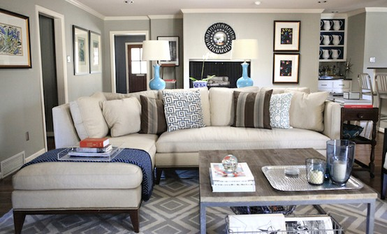 Heres An Example Of The Possible Incorporation Blue Into A Neutral Palette With Brown Accents And Soft Grey Walls