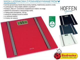 Waga łazienkowa z pomiarem parametrów Hoffen systematic Biedronka ulotka