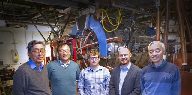 Members of the MRX team with the device in the background. From left, Masaaki Yamada, Jongsoo Yoo, Jonathan Jara-Almonte, Will Fox, and Hantao Ji. Photo by Elle Starkman/PPPL Office of Communications